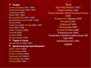Поэмы Руслан и Людмила (1817—1820) Кавказский пленник (1820—1821) Гавриилиада