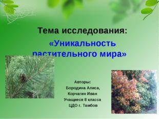 Тема исследования: «Уникальность растительного мира» Авторы: Бородина Алиса,