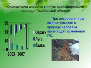 Определили антропогеннную трансформацию природы Тамбовской области При антроп