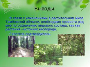 Выводы: В связи с изменениями в растительном мире Тамбовской области, необход