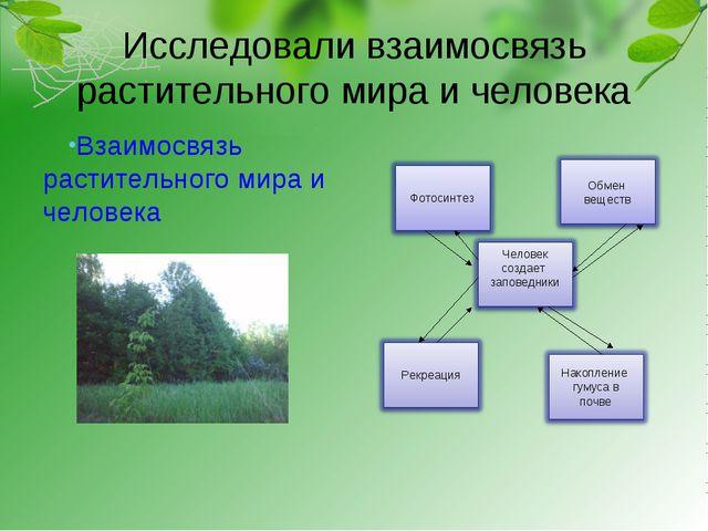 Исследовали взаимосвязь растительного мира и человека Взаимосвязь растительно...