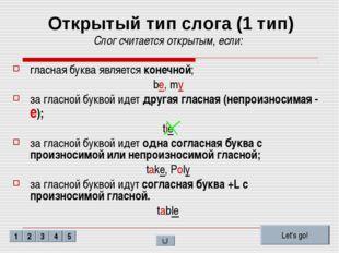 Открытый тип слога (1 тип) Слог считается открытым, если: гласная буква являе