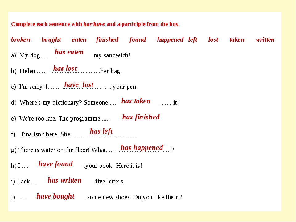 Complete each sentence with has/have and a participle from the box. broken bo...