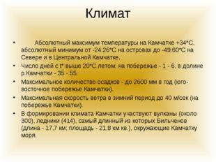 Климат Абсолютный максимум температуры на Камчатке +34*С, абсолютный минимум