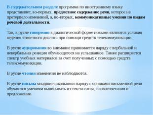 В содержательном разделе программа по иностранному языку представляет, во-пер