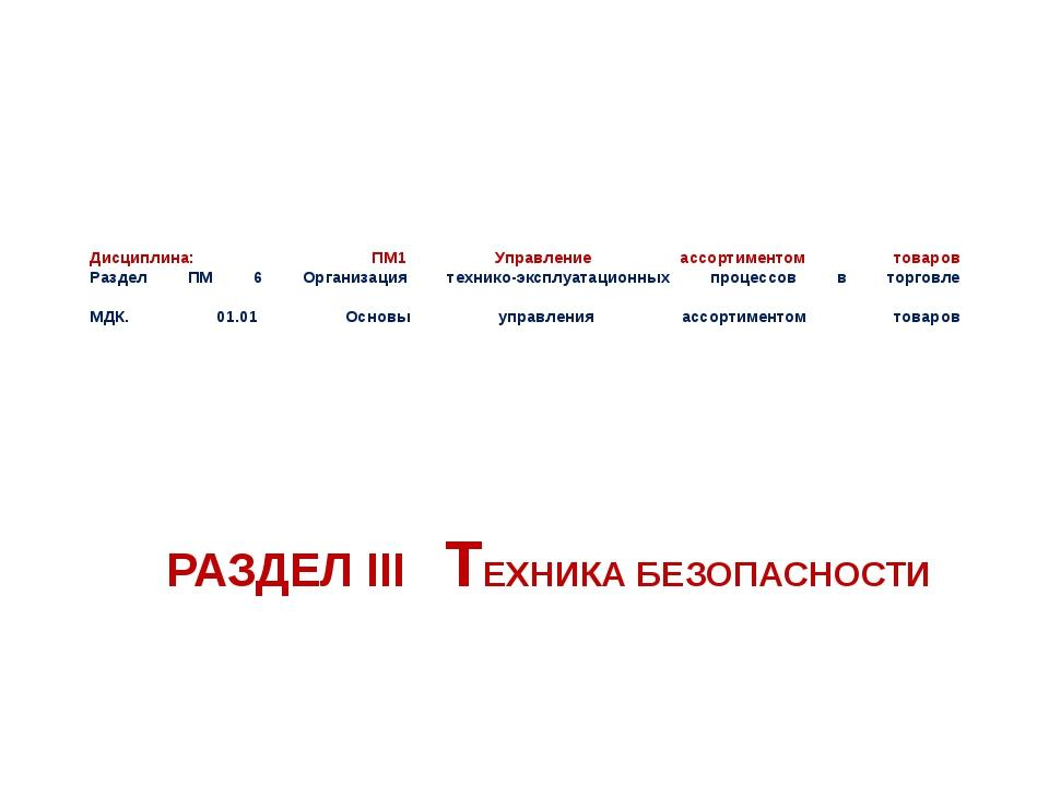 Дисциплина: ПМ1 Управление ассортиментом товаров Раздел ПМ 6 Организация техн...
