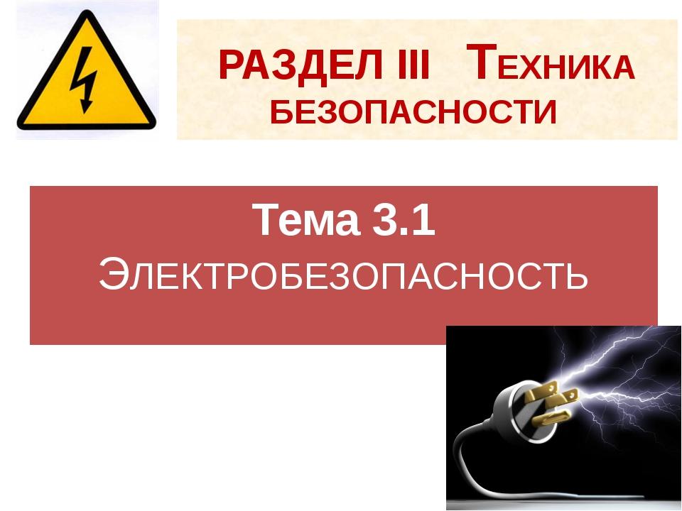 РАЗДЕЛ III ТЕХНИКА БЕЗОПАСНОСТИ Тема 3.1 ЭЛЕКТРОБЕЗОПАСНОСТЬ