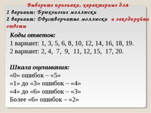 Выберите признаки, характерные для 1 вариант: Брюхоногие моллюски 2 вариант: