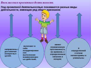 Внеклассная проектная деятельность Под проектной деятельностью понимаются раз