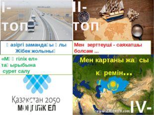 Мен картаны жақсы көремін... IV-топ Қазіргі замандағы Ұлы Жібек жолының маңыз
