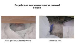 Воздействие выхлопных газов на снежный покров Через 15 мин Снег до начала экс