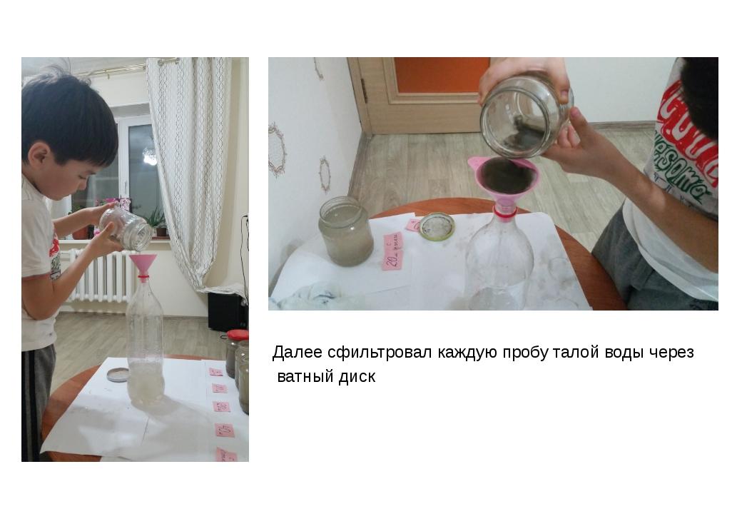 Далее сфильтровал каждую пробу талой воды через ватный диск