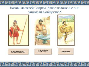 Назови жителей Спарты. Какое положение они занимали в обществе? Спартиаты Ило
