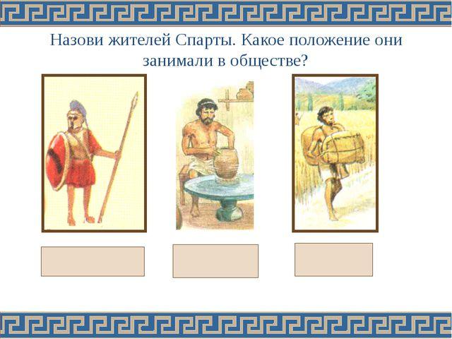 Назови жителей Спарты. Какое положение они занимали в обществе?