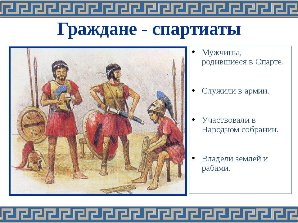 Граждане - спартиаты Мужчины, родившиеся в Спарте. Служили в армии. Участвова...