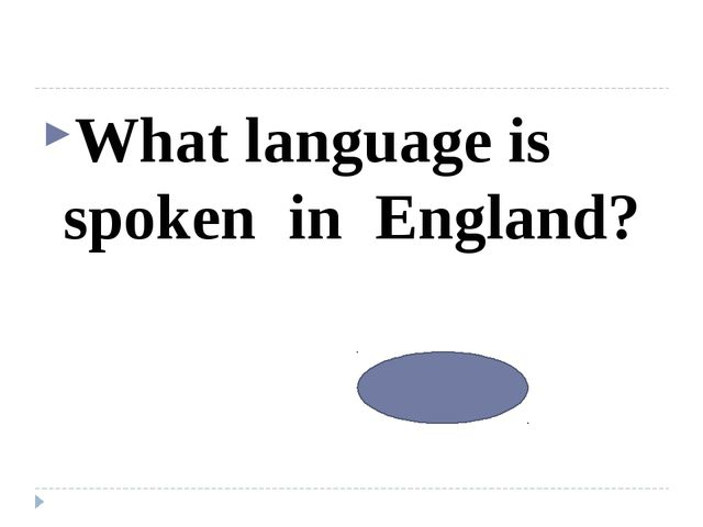 What language is spoken in England? English