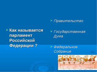 Как называется парламент Российской Федерации ? Правительство Государственная