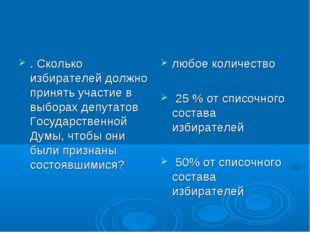 . Сколько избирателей должно принять участие в выборах депутатов Государствен