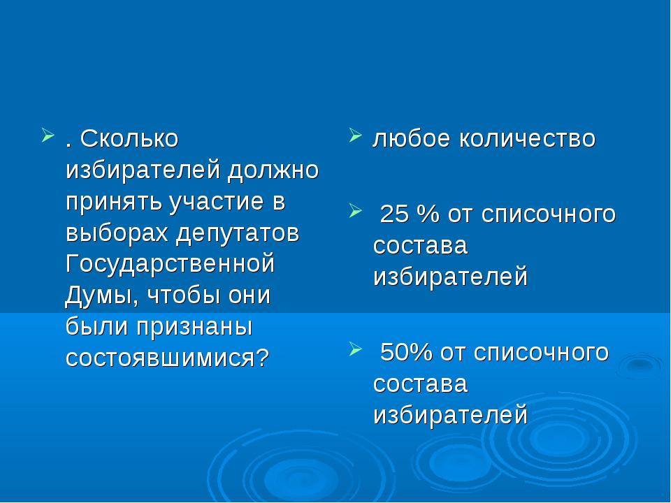 . Сколько избирателей должно принять участие в выборах депутатов Государствен...