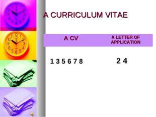 A CURRICULUM VITAE 1 3 5 6 7 8 2 4