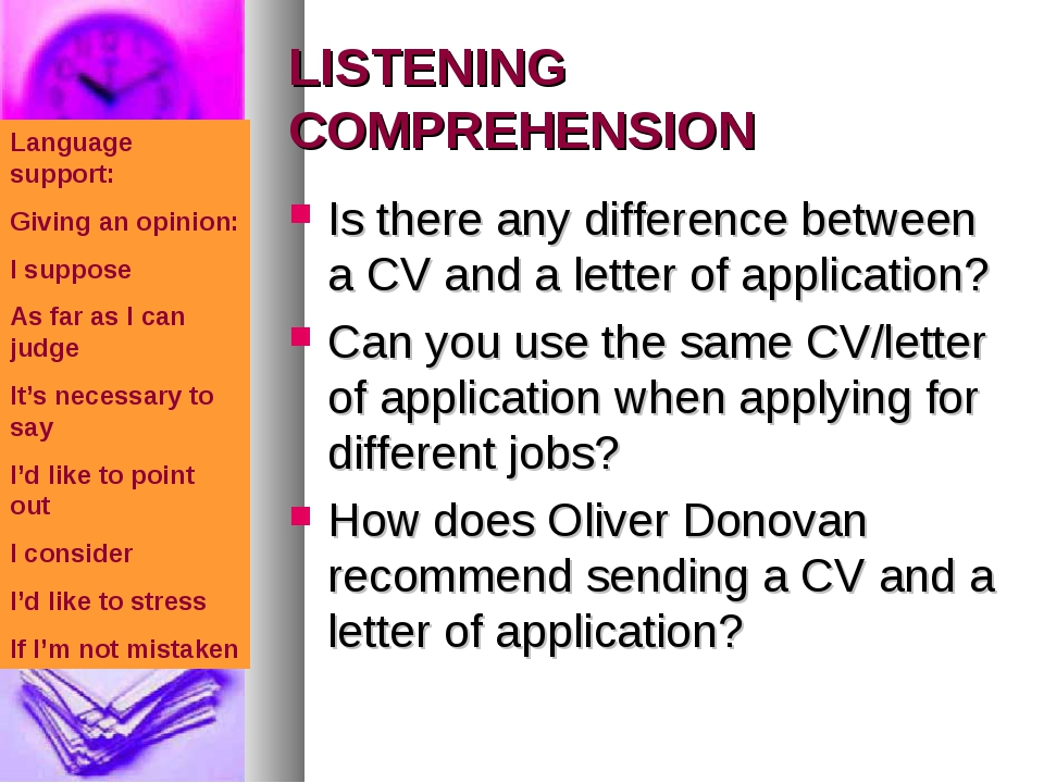 LISTENING COMPREHENSION Is there any difference between a CV and a letter of...