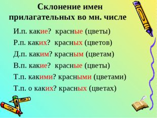 Склонение имен прилагательных во мн. числе И.п. какие? красные (цветы) Р.п. к
