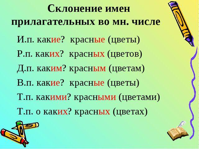 Склонение имен прилагательных во мн. числе И.п. какие? красные (цветы) Р.п. к...