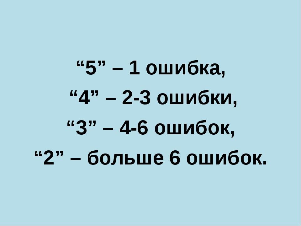 """""""5"""" – 1 ошибка, """"4"""" – 2-3 ошибки, """"3"""" – 4-6 ошибок, """"2"""" – больше 6 ошибок."""