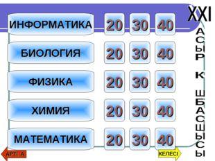 ИНФОРМАТИКА ФИЗИКА ХИМИЯ МАТЕМАТИКА БИОЛОГИЯ 20 30 40 20 30 40 20 30 40 20 30