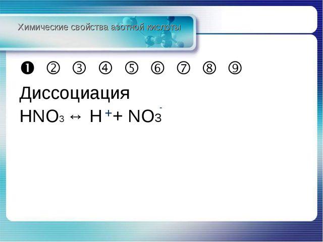          Диссоциация HNO3 ↔ H + NO3 Химические свойства азотной кисл...