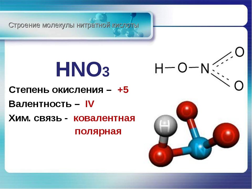 HNO3 Степень окисления – +5 Валентность – IV Хим. связь - ковалентная Строен...