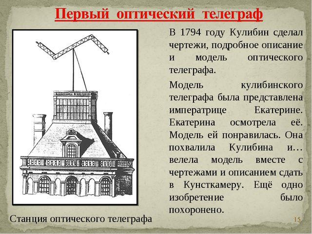 * В 1794 году Кулибин сделал чертежи, подробное описание и модель оптического...