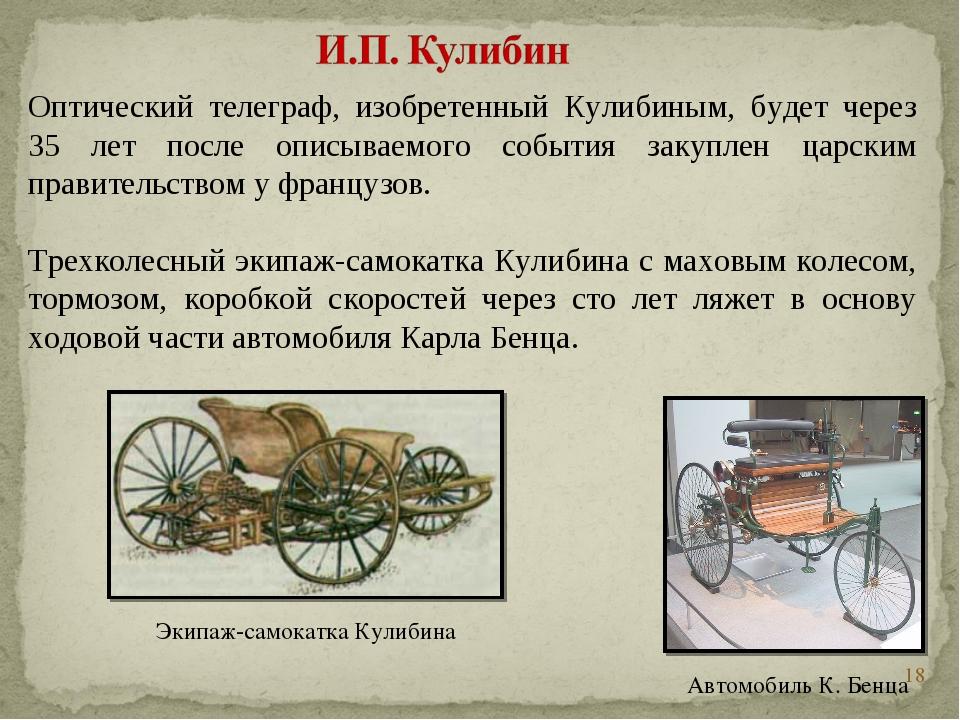 * Оптический телеграф, изобретенный Кулибиным, будет через 35 лет после описы...