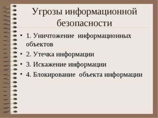 Угрозы информационной безопасности 1. Уничтожение информационных объектов 2.