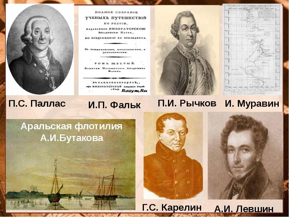 П.С. Паллас П.И. Рычков И.П. Фальк И. Муравин Аральская флотилия А.И.Бутакова...