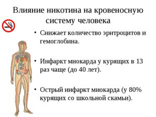 Влияние никотина на кровеносную систему человека Снижает количество эритроцит
