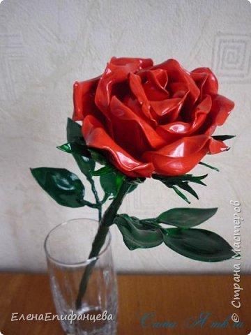 Мастер-класс Флористика искусственная Моделирование конструирование Роза из пластиковых ложек