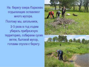 На берегу озера Карасево отдыхающие оставляют много мусора. Поэтому мы, школ