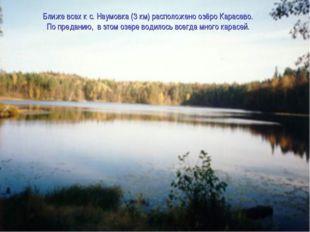 Ближе всех к с. Наумовка (3 км) расположено озёро Карасево. По преданию, в э
