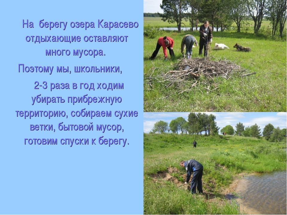 На берегу озера Карасево отдыхающие оставляют много мусора. Поэтому мы, школ...