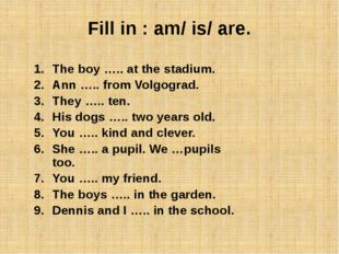 Fill in : am/ is/ are. The boy ….. at the stadium. Ann ….. from Volgograd.
