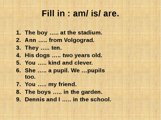 Fill in : am/ is/ are.