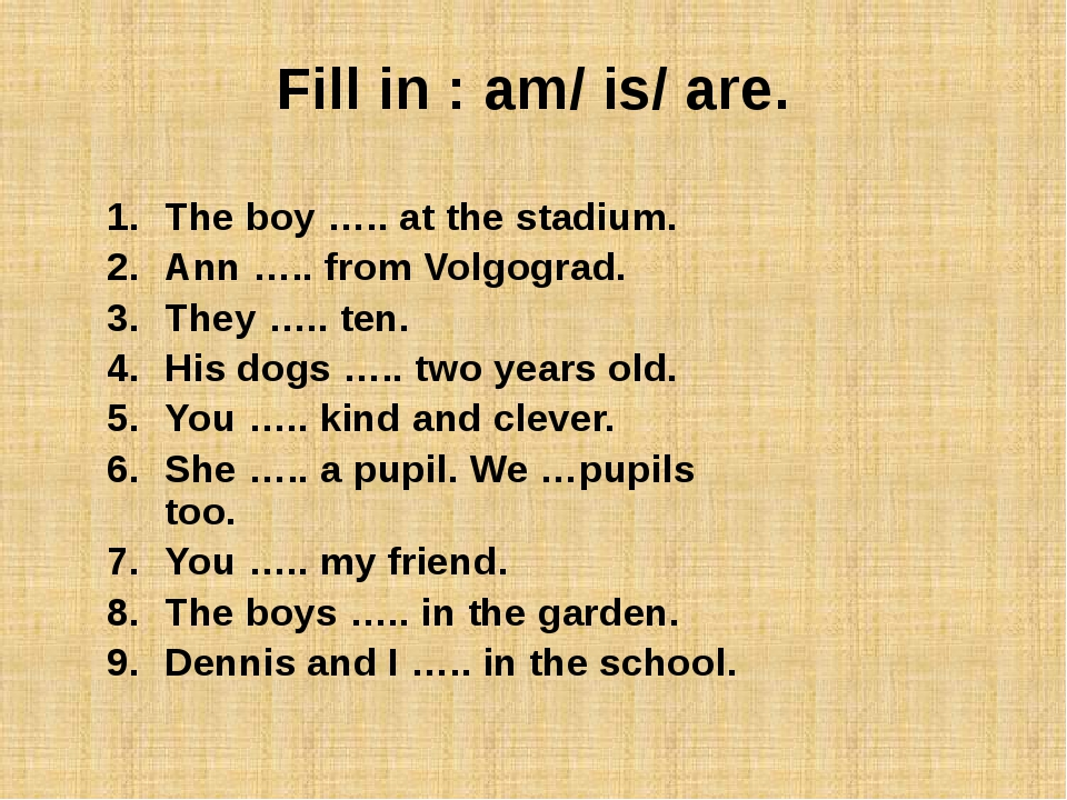 Fill in : am/ is/ are. The boy ….. at the stadium. Ann ….. from Volgograd....