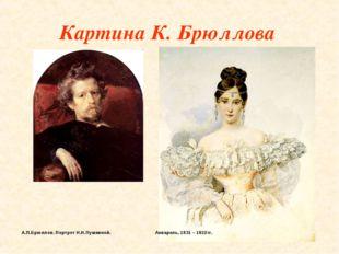 Картина К. Брюллова  А.П.Брюллов. Портрет Н.Н.Пушкиной.  Акварель,