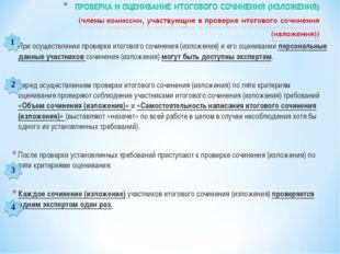При осуществлении проверки итогового сочинения (изложения) и его оценивании п