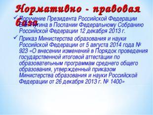 Нормативно - правовая база Поручение Президента Российской Федерации В.В. Пут