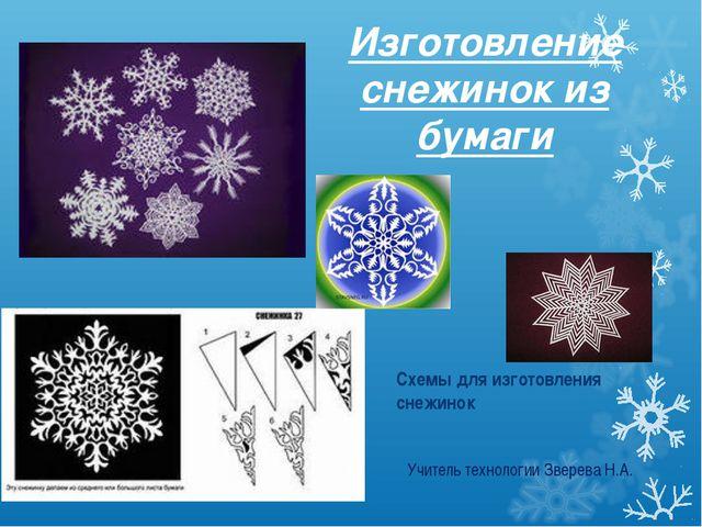 Изготовление снежинок из бумаги Схемы для изготовления снежинок Учитель техно...