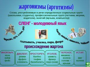 Слова, употребляемые в речи определенных социальных групп (школьники, студент