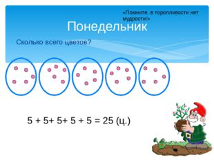 Сколько всего цветов? Понедельник 5 + 5+ 5+ 5 + 5 = 25 (ц.) «Помните, в тороп