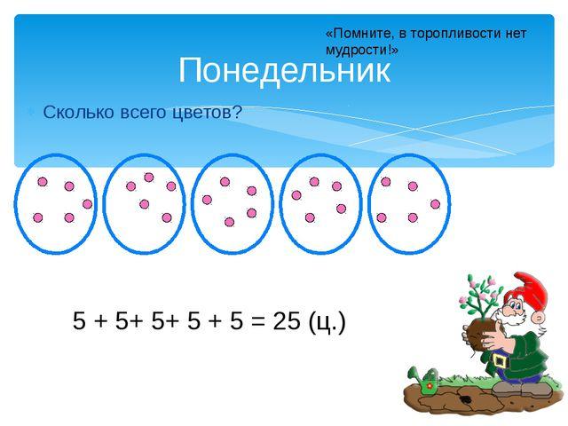 Сколько всего цветов? Понедельник 5 + 5+ 5+ 5 + 5 = 25 (ц.) «Помните, в тороп...